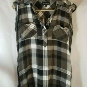 My Michelle Sleeveless Green/White Plaid Tank